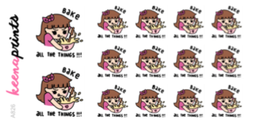 BAKE ALL THE THINGS STICKERS KEENACHI A826 - SET OF 14