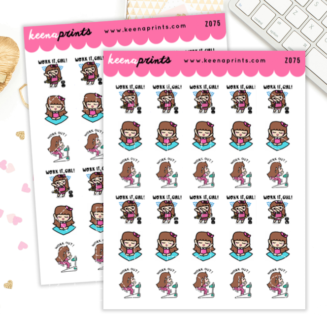 WORKING OUT KEENACHI PLANNER STICKERS Z075 - SET OF 30 - KeenaPrints planner stickers bullet journal diary sticker emoji stationery kawaii cute creative planner