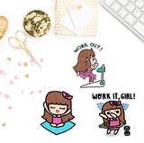 WORKING OUT KEENACHI PLANNER STICKERS Z075 - SET OF 30