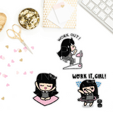 WORKING OUT WEDNESDAY PLANNER STICKERS Z076 - SET OF 30 - KeenaPrints planner stickers bullet journal diary sticker emoji stationery kawaii cute creative planner