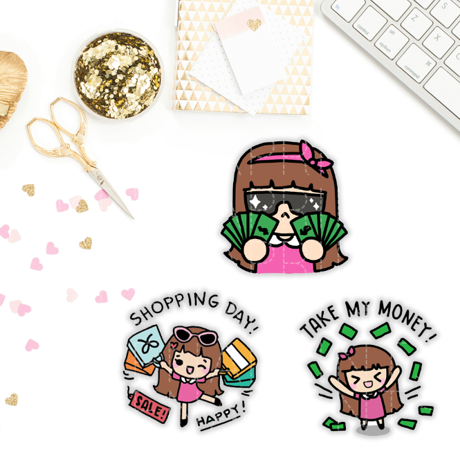 TAKE MY MONEY KEENACHI PLANNER STICKERS Z077 - SET OF 30