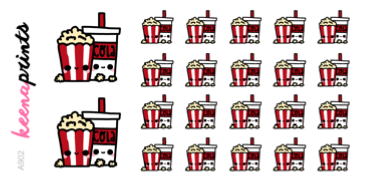 POPCORN AND COLA DAILY STICKERS A902 - SET OF 22