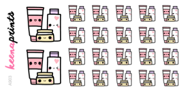 SKINCARE DAILY STICKERS A903 - SET OF 22