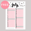 JULY MONTHLY BULLET JOURNAL PLANNER FREE PRINTABLE [A5 SIZE] - KeenaPrints planner stickers bullet journal diary sticker emoji stationery kawaii cute creative planner