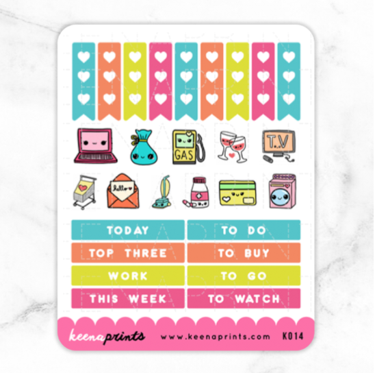 TROPICAL PARADISE HEADERS & CHECKLIST STICKERS K014 - KeenaPrints planner stickers bullet journal diary sticker emoji stationery kawaii cute creative planner