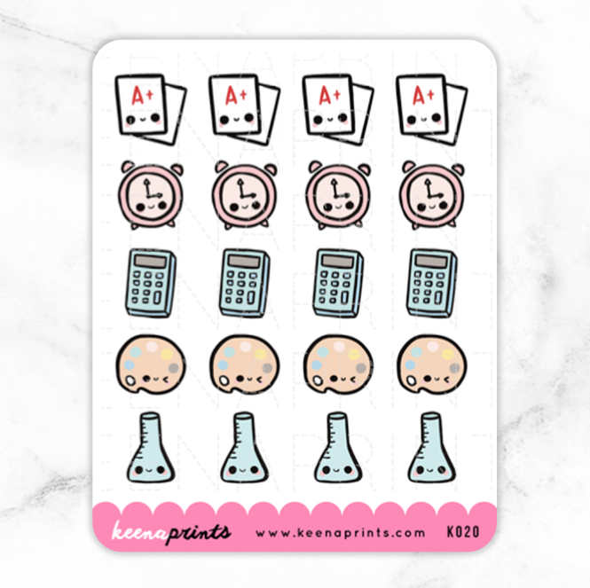 BACK TO SCHOOL KAWAII STICKERS K020 - KeenaPrints planner stickers bullet journal diary sticker emoji stationery kawaii cute creative planner