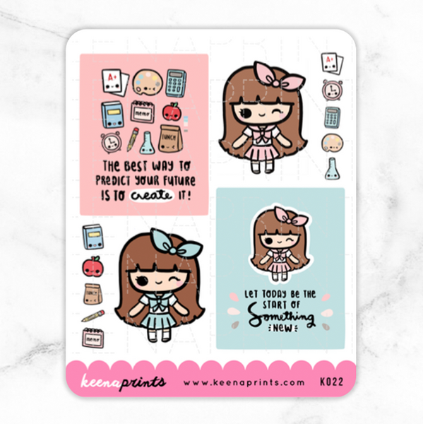 BACK TO SCHOOL KAWAII BOXES STICKERS K022
