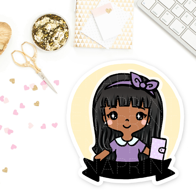 PRE-MADE CHIBI PLANNER GIRL KEENAMI PRINTABLE CLIP ART - KeenaPrints planner stickers bullet journal diary sticker emoji stationery kawaii cute creative planner