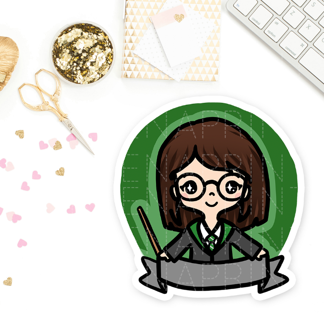 SLYTHERIN WIZARD KEENACHI PRE-MADE CHIBI PRINTABLE CLIP ART