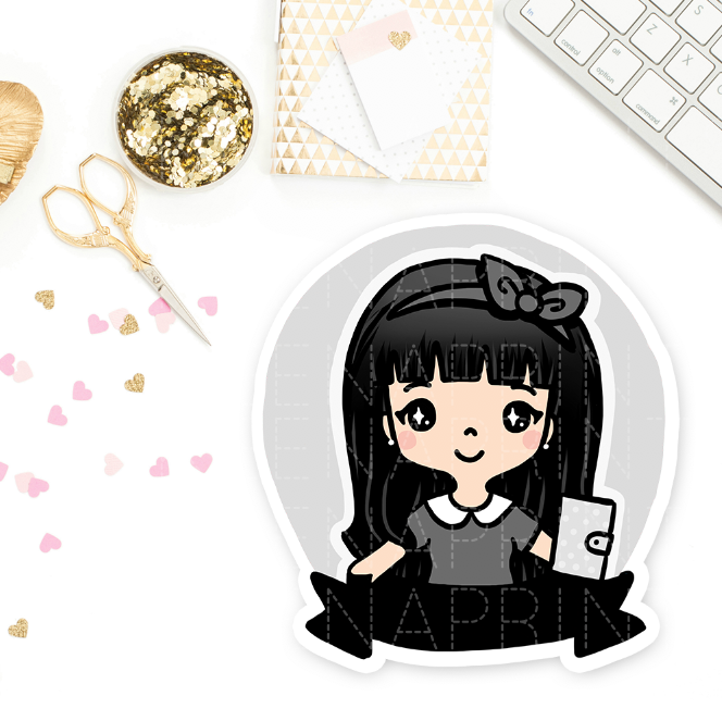 PRE-MADE CHIBI PLANNER GIRL WEDNESDAY PRINTABLE CLIP ART