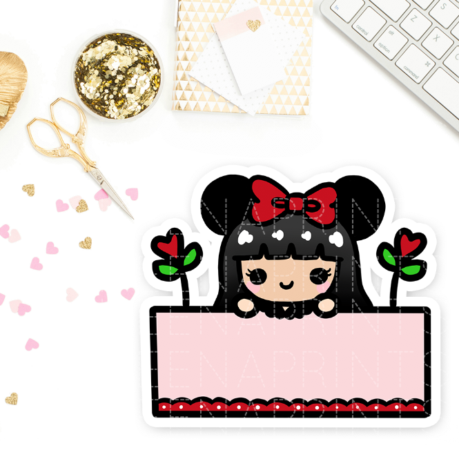 MINNIE EARS WEDNESDAY PRE-MADE CHIBI PRINTABLE CLIP ART