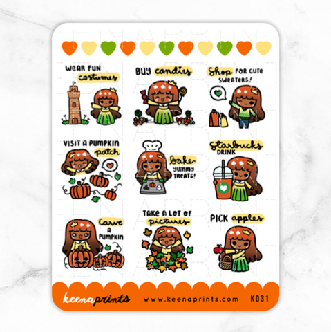 HALLOWEEN COUNTDOWN KEENACHI STICKERS Z021 - SET OF 21