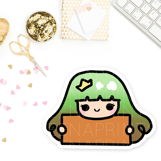 GREEN FALL PRINCESS PRE-MADE CHIBI PRINTABLE CLIP ART - KeenaPrints planner stickers bullet journal diary sticker emoji stationery kawaii cute creative planner