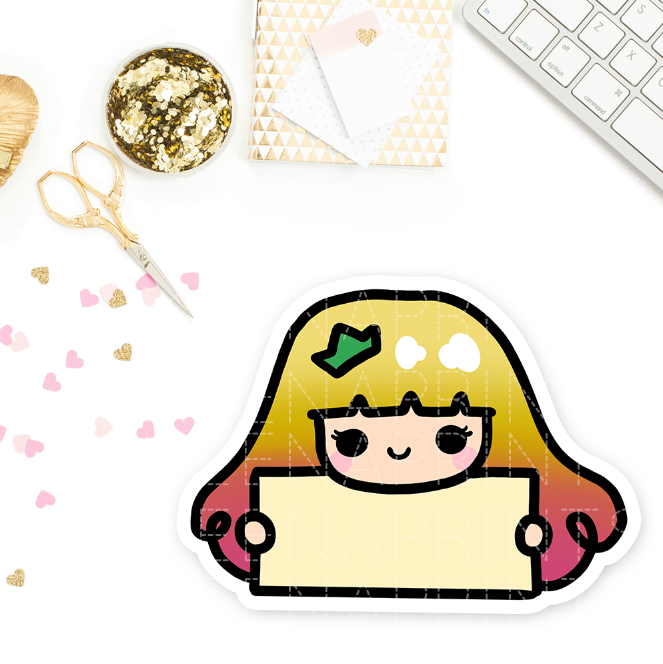 YELLOW PRINCESS PRE-MADE CHIBI PRINTABLE CLIP ART - KeenaPrints planner stickers bullet journal diary sticker emoji stationery kawaii cute creative planner
