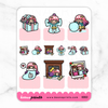 DIY WINTER / CHRISTMAS KEENACHIEVEMENTS PASTEL PRINCESS COMBO STICKERS K063 - KeenaPrints planner stickers bullet journal diary sticker emoji stationery kawaii cute creative planner