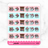 WINTER / CHRISTMAS WASHI STRIPS PASTEL PRINCESS COMBO STICKERS K066 - KeenaPrints planner stickers bullet journal diary sticker emoji stationery kawaii cute creative planner
