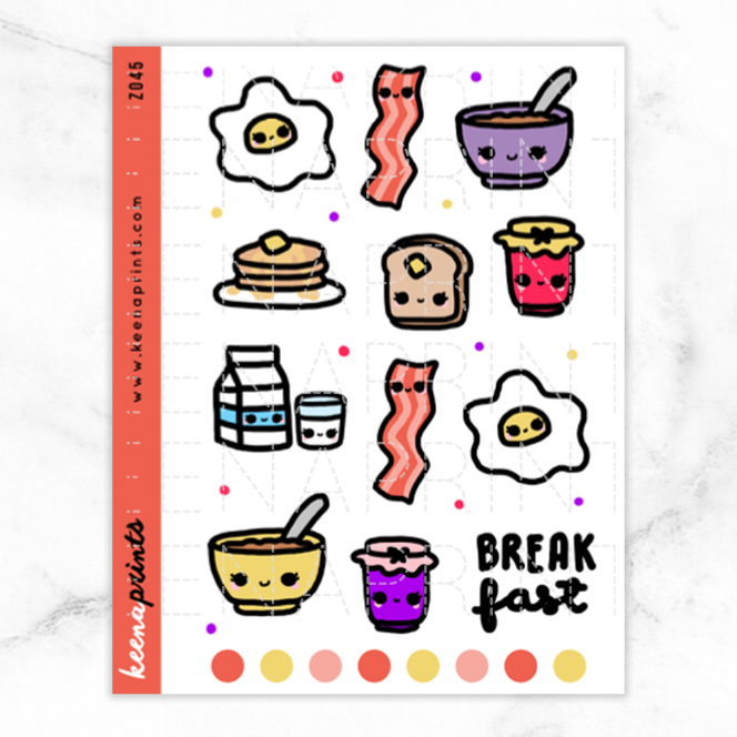 BREAKFAST DAILY STICKERS Z045 - KeenaPrints planner stickers bullet journal diary sticker emoji stationery kawaii cute creative planner