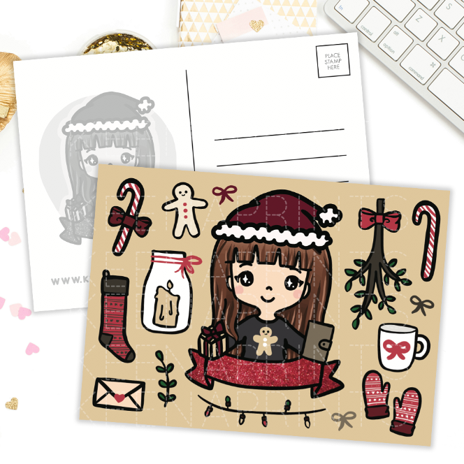 COZY HOLIDAY KEENACHI POSTCARD - KeenaPrints planner stickers bullet journal diary sticker emoji stationery kawaii cute creative planner