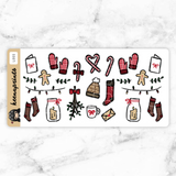 COZY HOLIDAY DECO STICKERS - L005 - KeenaPrints planner stickers bullet journal diary sticker emoji stationery kawaii cute creative planner