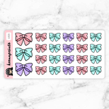 LOLITA BOWS STICKERS DAILY - L025 - KeenaPrints planner stickers bullet journal diary sticker emoji stationery kawaii cute creative planner