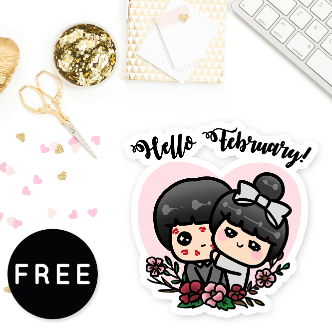 HELLO FEBRUARY FREE PRINTABLE - KeenaPrints planner stickers bullet journal diary sticker emoji stationery kawaii cute creative planner