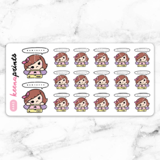 WAITING STICKERS KEENACHI - A443 - KeenaPrints planner stickers bullet journal diary sticker emoji stationery kawaii cute creative planner
