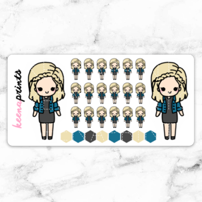 HANNA CHIBI STICKERS - A001 - KeenaPrints planner stickers bullet journal diary sticker emoji stationery kawaii cute creative planner