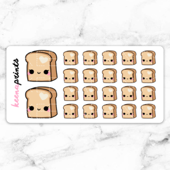 TOASTED BREAD STICKERS DAILY - A150 - KeenaPrints planner stickers bullet journal diary sticker emoji stationery kawaii cute creative planner