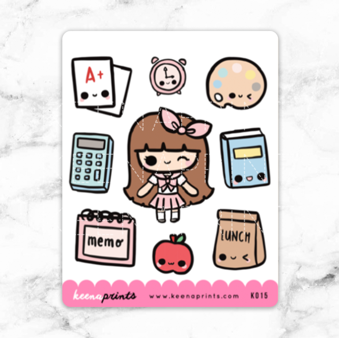 SCHOOL GIRL COMBO STICKERS CHIBI - K015 - KeenaPrints planner stickers bullet journal diary sticker emoji stationery kawaii cute creative planner