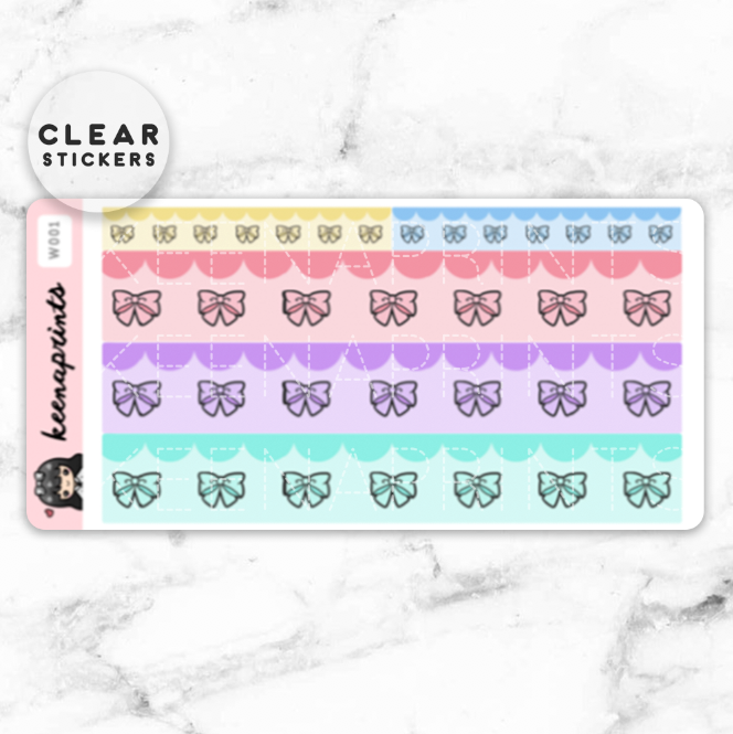 BOW WASHI CLEAR STICKERS - W001 - KeenaPrints planner stickers bullet journal diary sticker emoji stationery kawaii cute creative planner