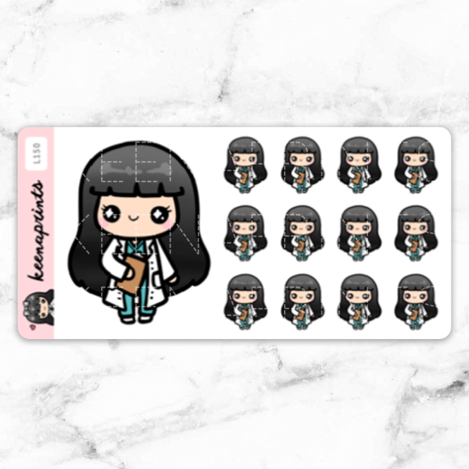 DOCTOR STICKERS CHIBI LOLA - L150 - KeenaPrints planner stickers bullet journal diary sticker emoji stationery kawaii cute creative planner