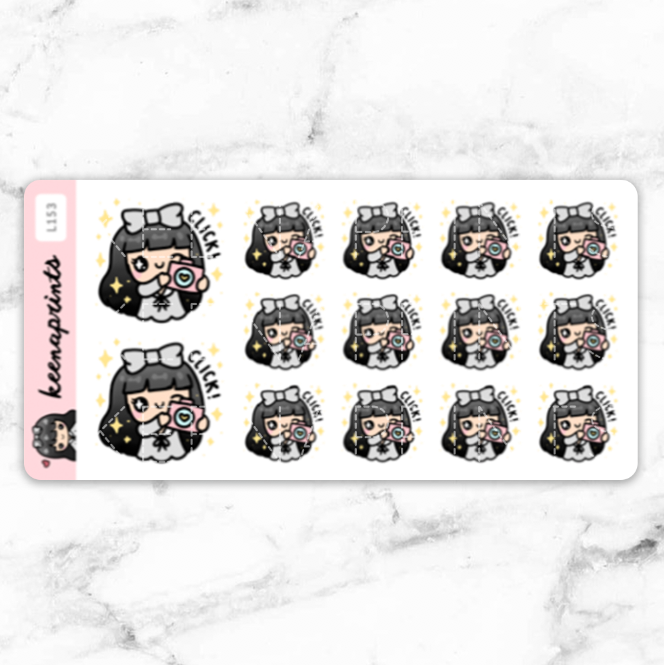 PHOTOGRAPHER STICKERS LOLA - L153 - KeenaPrints planner stickers bullet journal diary sticker emoji stationery kawaii cute creative planner