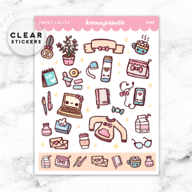 SWEET LOLITA DECO CLEAR STICKERS - Z096 - KeenaPrints planner stickers bullet journal diary sticker emoji stationery kawaii cute creative planner