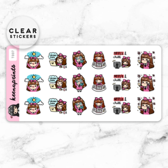 KEENACHI SAMPLER 2 CLEAR STICKERS - T007 - KeenaPrints planner stickers bullet journal diary sticker emoji stationery kawaii cute creative planner