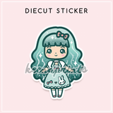 TEA TIME LOLITA DIECUT STICKER - DC016 - KeenaPrints planner stickers bullet journal diary sticker emoji stationery kawaii cute creative planner