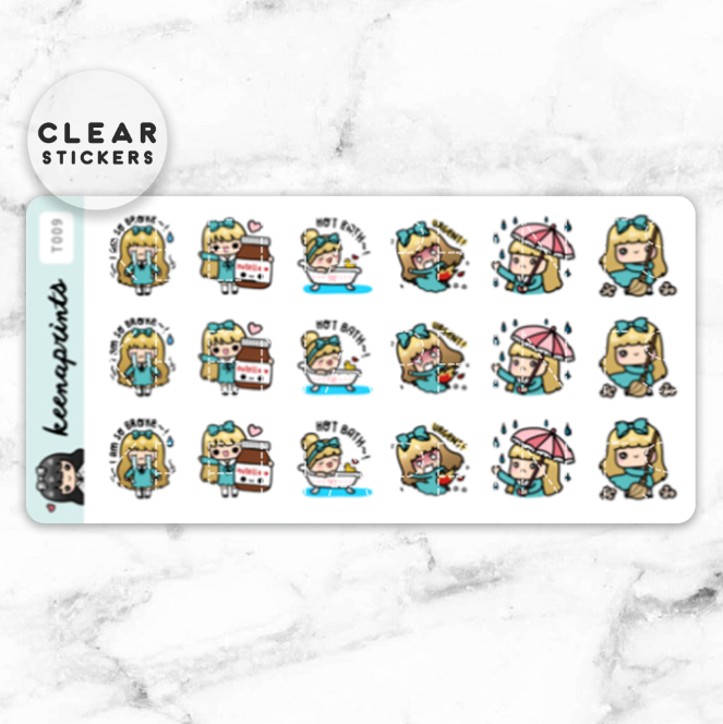 KEENARI SAMPLER 1 CLEAR STICKERS - T009 - KeenaPrints planner stickers bullet journal diary sticker emoji stationery kawaii cute creative planner