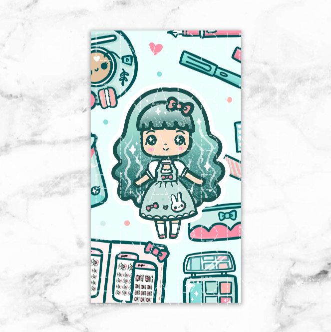 TEA TIME LOLITA LAMINATED DASHBOARD - KeenaPrints planner stickers bullet journal diary sticker emoji stationery kawaii cute creative planner