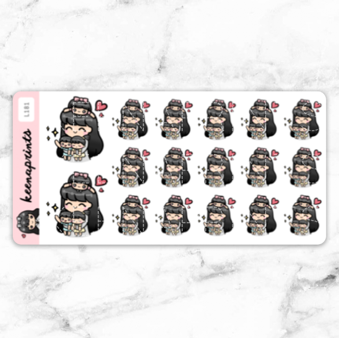 MOMLIFE STICKERS LOLA - L181 - KeenaPrints planner stickers bullet journal diary sticker emoji stationery kawaii cute creative planner