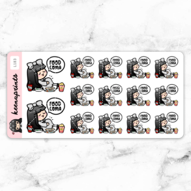 FOOD COMA STICKERS LOLA - L183 - KeenaPrints planner stickers bullet journal diary sticker emoji stationery kawaii cute creative planner