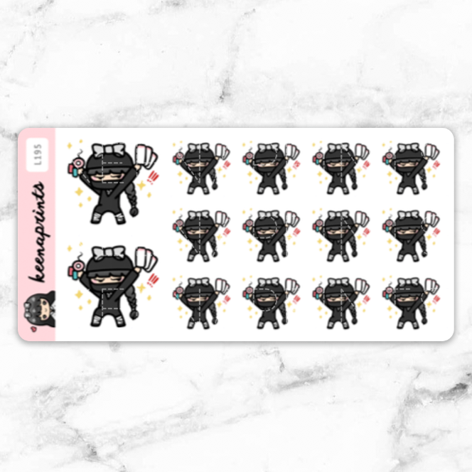 NINJA STICKERS LOLA - L195 - KeenaPrints planner stickers bullet journal diary sticker emoji stationery kawaii cute creative planner