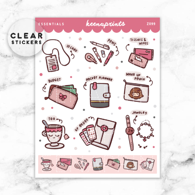 CHIC LOLITA DECO CLEAR STICKERS - Z099 - KeenaPrints planner stickers bullet journal diary sticker emoji stationery kawaii cute creative planner