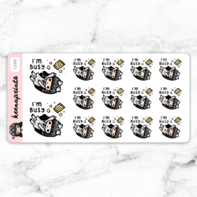 I'M BUSY STICKERS LOLA - L200 - KeenaPrints planner stickers bullet journal diary sticker emoji stationery kawaii cute creative planner