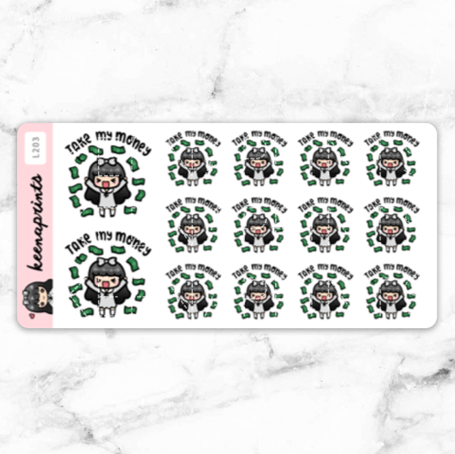 TAKE MY MONEY STICKERS LOLA - L203 - KeenaPrints planner stickers bullet journal diary sticker emoji stationery kawaii cute creative planner