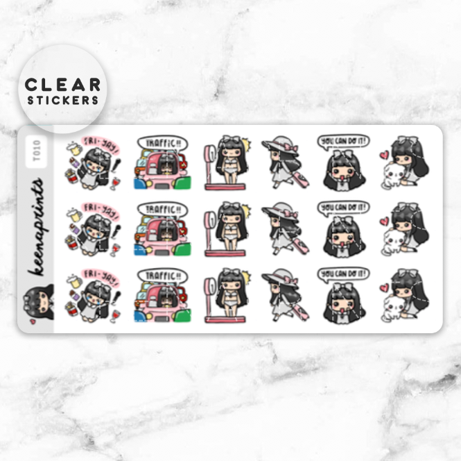 LOLA SAMPLER 3 CLEAR STICKERS - T010 - KeenaPrints planner stickers bullet journal diary sticker emoji stationery kawaii cute creative planner