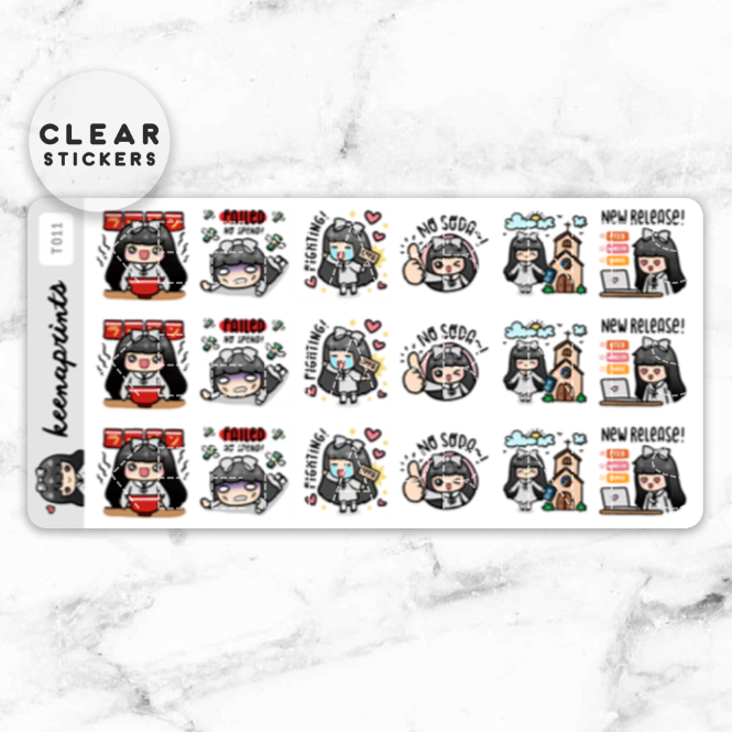 LOLA SAMPLER 4 CLEAR STICKERS - T011 - KeenaPrints planner stickers bullet journal diary sticker emoji stationery kawaii cute creative planner