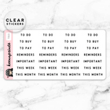 ESSENTIALS LABEL CLEAR STICKERS - T013 - KeenaPrints planner stickers bullet journal diary sticker emoji stationery kawaii cute creative planner
