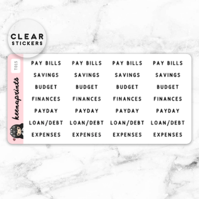 FINANCE LABEL CLEAR STICKERS - T015 - KeenaPrints planner stickers bullet journal diary sticker emoji stationery kawaii cute creative planner