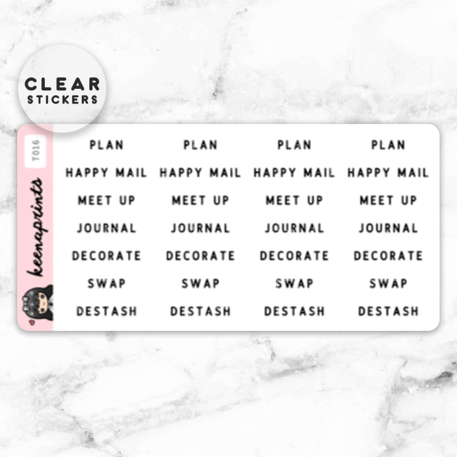 PLANNER GIRL LABEL CLEAR STICKERS - T016 - KeenaPrints planner stickers bullet journal diary sticker emoji stationery kawaii cute creative planner