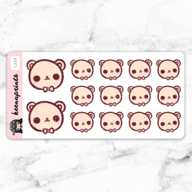 BEAR CANDY LOLITA STICKERS DAILY - L233 - KeenaPrints planner stickers bullet journal diary sticker emoji stationery kawaii cute creative planner