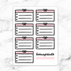 PINK BOW LIST MEMO HALF BOX STICKERS - B010